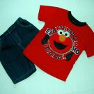 SESAME STREET Boy's 4T ELMO T-Shirt, Denim Shorts Outfit, Set ,NEW
