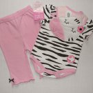 BON BEBE Girl's 0-3 Months Zebra Print Bib Shirt Leggings Set, NEW