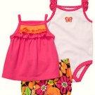 CARTER'S Girl's 9 Months 3-Piece Shorts, Shirts Set, Pink, Butterfly, NEW