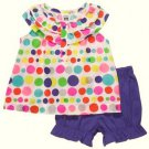 CARTER'S Girl's 6 Months Colorful Dot Tunic, Purple Shorts Outfit, NEW