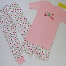 L.L. Bean Girl's Size 3T Pink Ladybug 3-Piece Pajama Pants, Shorts Set, NEW