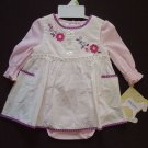 LITTLE BITTY Girl's 3-6 Months Floral Dress Jumper, Pink Bodysuit Set, NEW