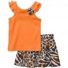 CARTER'S Girl's 6 Months Orange Animal Print Skort, Skirt Set, NEW