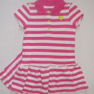 CARTER'S Girl's Size 3 Months Pink, White Striped Polo Dress Set, NEW