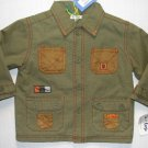 LE TOP Boy's 24 Months Olive Green Canvas DINOSAUR Jacket, Fleece Lined, NEW