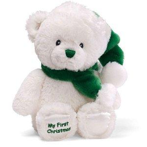 "GUND MY FIRST CHRISTMAS BEAR, GREEN, 11"", NEW"