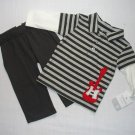 CARTER'S Boy's 6 Months Long-Sleeved Polo GUITAR Shirt and Pants Set, NEW