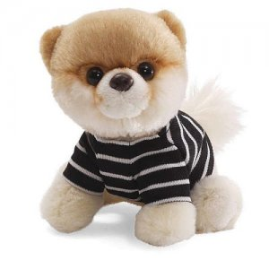 "GUND ITTY BITTY BOO 5"" Plush World's Cutest Dog in Striped Shirt, 001 Series NEW"