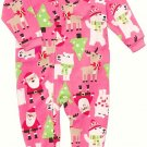 CARTER'S Girl's 3T Christmas Santa Themed Fleece Pajama Sleeper, NEW