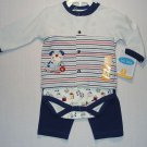 BON BEBE Boy's 3-6 Months 3-Piece Puppy Shirt, Bodysuit, Pants Set, Outfit, NEW