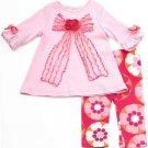 RARE EDITIONS Girl's Size 12 Months Pink Bow Floral Leggings Outfit