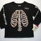 OSHKOSH Boy's Size 4T GLOW-IN-THE-DARK SKELETON Shirt, NEW