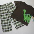CARTER'S Boy's 24 Months Brown Plaid DINOSAUR Pajama Pants Set, NEW