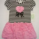 BONNIE JEAN Girl's Size 3/3T Striped Pink Tiered Dress, NEW