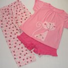 CARTER'S JUST ONE YOU Girl's Size 3T KITTY, Hearts 3-Piece Pajama Set, NEW
