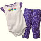 CARTER'S Girl's 6 M Cupcake Top and Purple Leggings Outfit, NEW