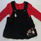 DISNEY BABY MINNIE MOUSE 3-6 Months Christmas Dress, Corduroy Jumper Set, NEW
