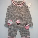 EMILY ROSE For RARE EDITIONS Girl's Size 3T Cupcake Seersucker Capri Set