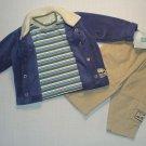 LITTLE ME 6 Months Fleece Jacket, Shirt, Corduroy Khaki Pants Outfit, HIKING NEW