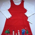 SOPHIE ROSE Girl's Size 6 HOLIDAY SNOWMAN Red Dress Jumper Set, NEW