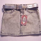 DREAM GENIE Girl's Size 12 'Washed-Out' Blue Denim Skirt with Silver Belt, NEW