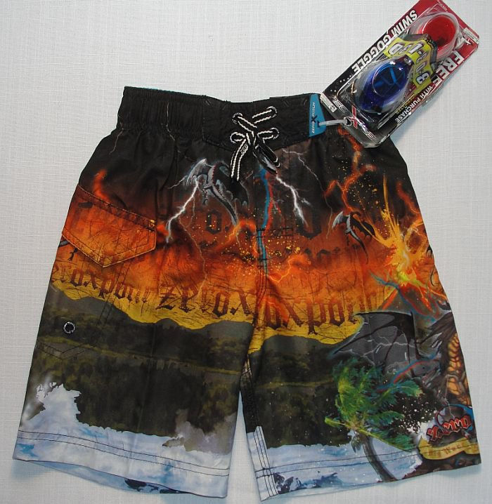 ZEROXPOSUR Boy's Size 7 DRAGON Swim Surf Shorts, NEW