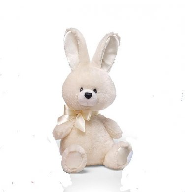 "GUND Plush 6"" IVORY BUNNY Baby Rattle, EASTER, NEW, NWT"