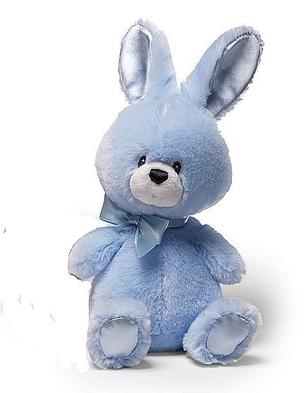 """GUND Plush 6"""" BLUE BUNNY Baby Rattle, EASTER, NEW, NWT"""