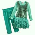 KNITWORKS Girl's Size 5 Green Chiffon Tutu Tunic Leggings Set, Outfit