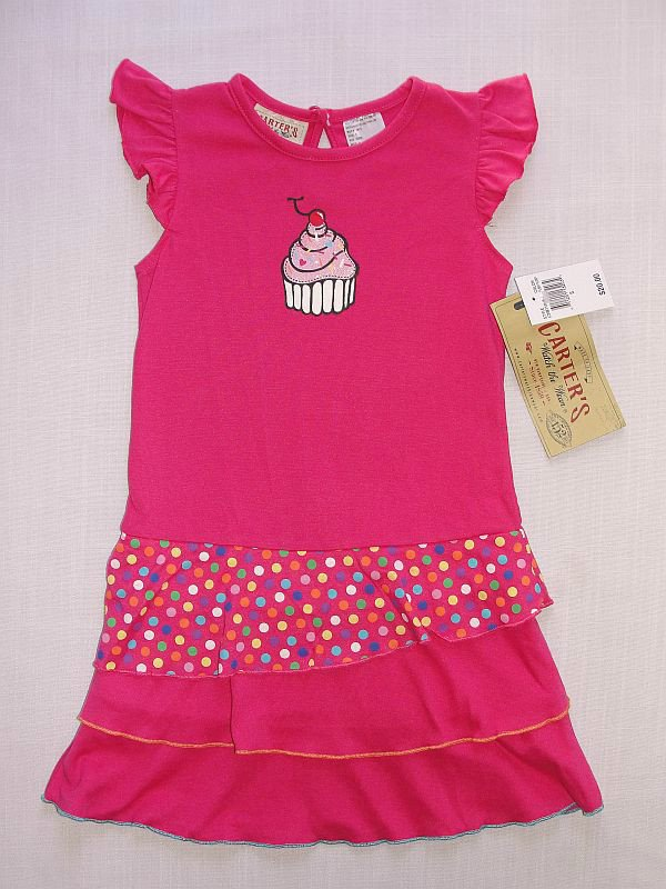 CARTER'S WATCH THE WEAR Girl's Size 4T Pink CUPCAKE Tier Dress, NEW
