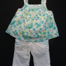 KOALA KIDS Girl's Size 3-6 Months Floral Lined Top, White Pants Outfit, Set
