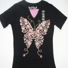 SUE & SAM Girl's Size L 14-16 Black Butterfly Shirt, T-Shirt, NEW
