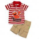 SESAME STREET Boy's Size 2T Polo Shirt, Khaki Shorts Set, Outfit, NEW