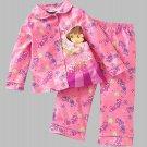 NICKELODEON Girl's DORA Size 4T Pink Flannel Coat Pajama Set, NEW