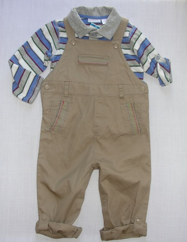 FIRST IMPRESSIONS Boy's Size 18 Months Khaki Overalls, Shirt Outfit, NEW