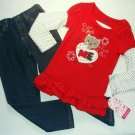 YOUNG HEARTS Girl's Size 5 Red Kitty Tunic Shirt, Jeans Outfit Set NEW