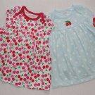 CARTER'S Girl's 6 Months Pair of Red Cherry Blue Dot Dress Sets, NEW