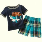 CARTER'S Boy's Size 3 Months Shark T-Shirt, Shirt, Plaid Shorts Set, Outfit, NEW