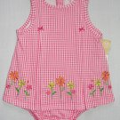 CARTER'S Girl's 12 Months Pink Checkered Floral Summer Romper, Sunsuit, NEW
