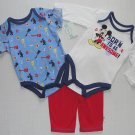DISNEY MICKEY 0-3 Months Born To Be Awesome 3-Piece Shirt, Pants Set, Outfit NEW