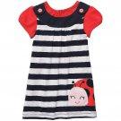 CARTER'S Girl's Size 3T LADYBUG Striped Dress Jumper Set, NEW