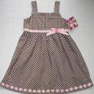 BLUEBERI BOULEVARD Girl's Size 6 Brown White Checkered Sundress, Dress, NEW