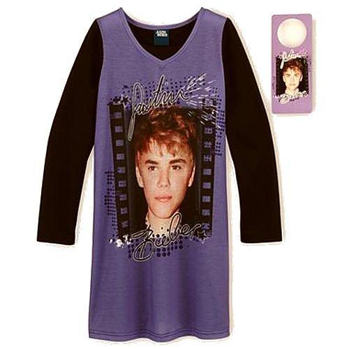 JUSTIN BIEBER Size 10-12 Purple Nightgown with Door Hanger, NEW