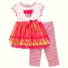 YOUNGLAND Girl's Size 24 Months Birthday Cupcake Dress Leggings Set, NEW
