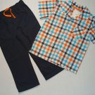 CARTER'S Boy's Size 4T Turquoise, Orange Plaid Shirt, Gray Pants Set, NEW