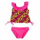 2B REAL Girl's Size 3 Pink Leopard Tankini Bikini Bathing Suit, NEW