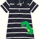 CARTER'S Boy's 12 Months Striped Dinosaur Romper, One-Piece, NEW