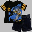 DC COMICS BATMAN Boy's Size 6 Shirt and Shorts Set, NEW, NWT, with Defect