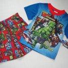 MARVEL AVENGERS ASSEMBLE Boy's Size 6/7 Pajama Short Set, IRONMAN, HULK NEW