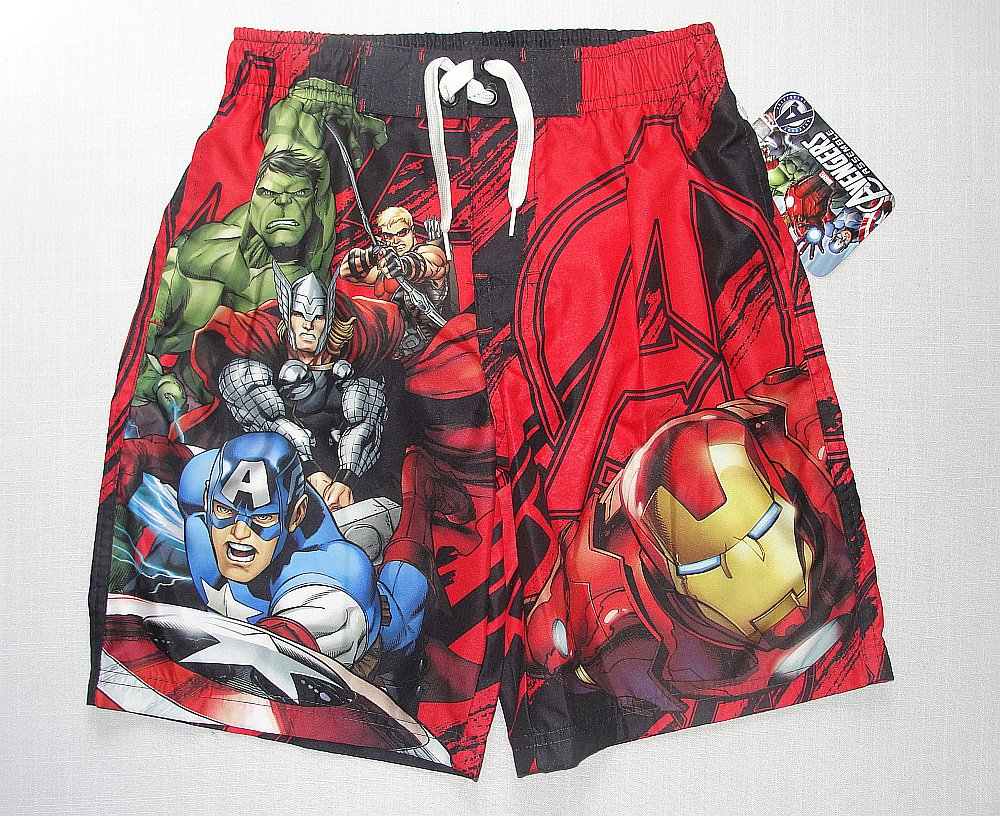 MARVEL AVENGERS ASSEMBLE Boy's Size 7/8 Swim Shorts, NEW